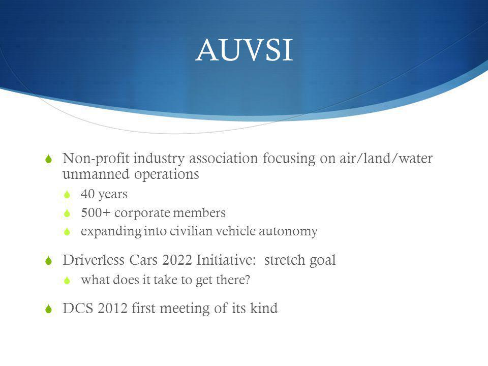 AUVSI Non-profit industry association focusing on air/land/water unmanned operations 40 years 500+ corporate members expanding into civilian vehicle a
