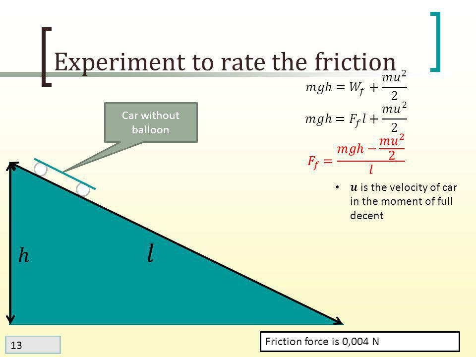 13 Experiment to rate the friction Friction force is 0,004 N Car without balloon