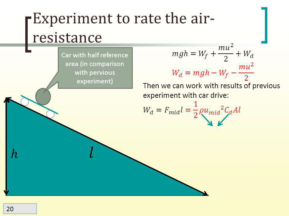 20 Experiment to rate the air- resistance Car with half reference area (in comparison with pervious experiment)