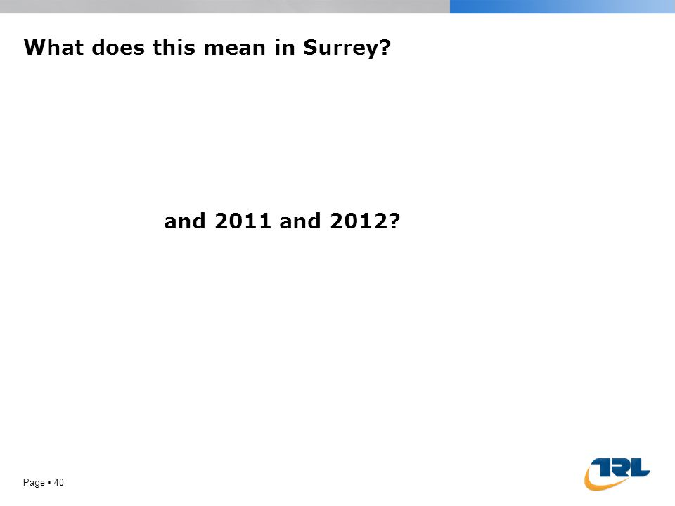 What does this mean in Surrey Page 40 and 2011 and 2012