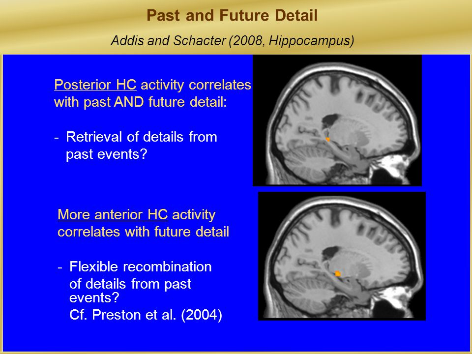 Posterior HC activity correlates with past AND future detail: -Retrieval of details from past events.