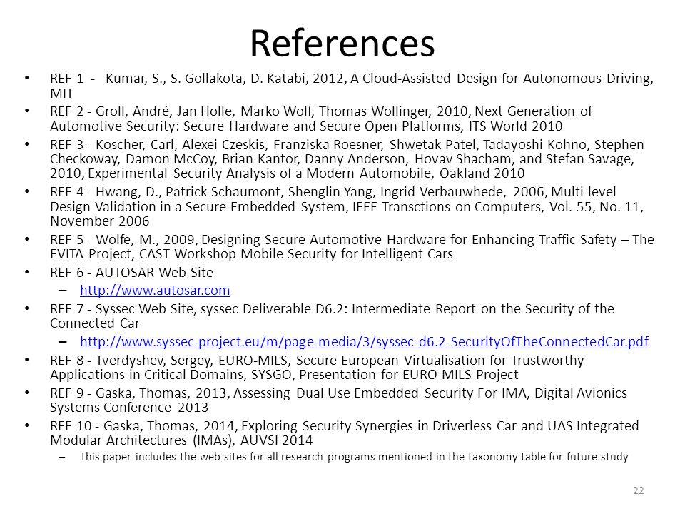 References REF 1 - Kumar, S., S. Gollakota, D. Katabi, 2012, A Cloud-Assisted Design for Autonomous Driving, MIT REF 2 - Groll, André, Jan Holle, Mark