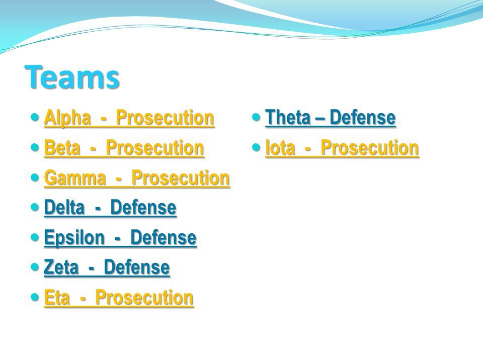 Teams Alpha - Prosecution Alpha - Prosecution Beta - Prosecution Beta - Prosecution Gamma - Prosecution Gamma - Prosecution Delta - Defense Delta - De
