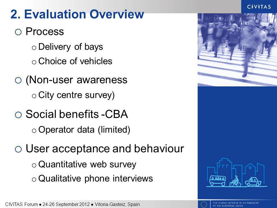 2. Evaluation Overview o Process o Delivery of bays o Choice of vehicles o (Non-user awareness o City centre survey) o Social benefits -CBA o Operator