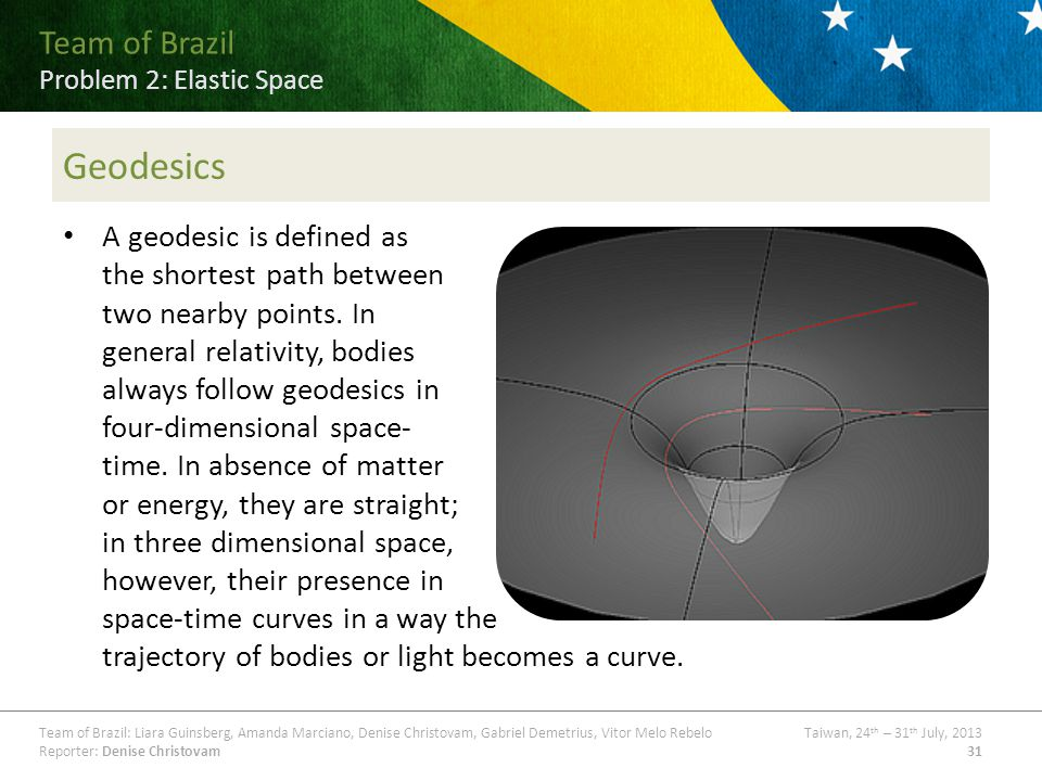 Team of Brazil Problem ## Title Team of Brazil: Liara Guinsberg, Amanda Marciano, Denise Christovam, Gabriel Demetrius, Vitor Melo RebeloTaiwan, 24 th – 31 th July, 2013 Reporter: Denise Christovam31 Team of Brazil Problem 2: Elastic Space Geodesics A geodesic is defined as the shortest path between two nearby points.