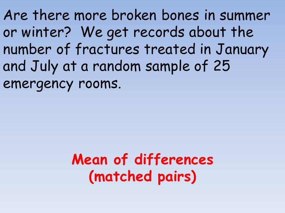 Are there more broken bones in summer or winter? We get records about the number of fractures treated in January and July at a random sample of 25 eme