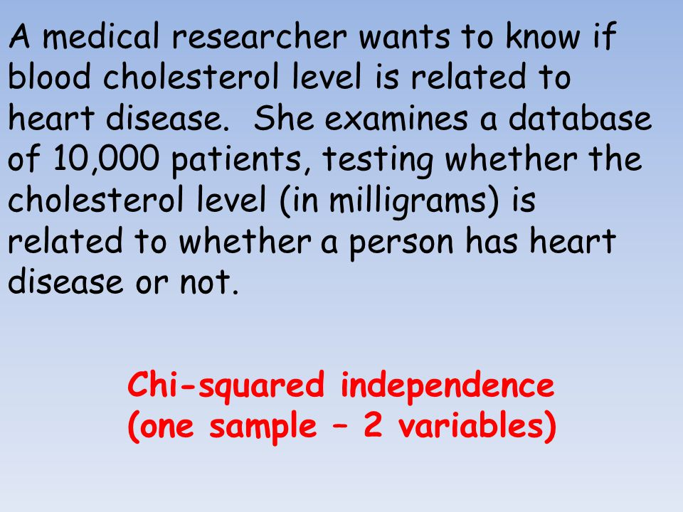 A medical researcher wants to know if blood cholesterol level is related to heart disease.