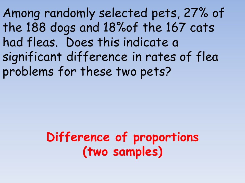 Among randomly selected pets, 27% of the 188 dogs and 18%of the 167 cats had fleas. Does this indicate a significant difference in rates of flea probl