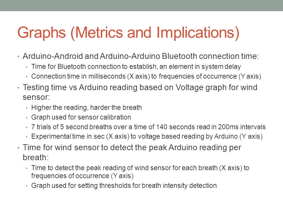 Graphs (Metrics and Implications) Arduino-Android and Arduino-Arduino Bluetooth connection time: Time for Bluetooth connection to establish, an element in system delay Connection time in milliseconds (X axis) to frequencies of occurrence (Y axis) Testing time vs Arduino reading based on Voltage graph for wind sensor: Higher the reading, harder the breath Graph used for sensor calibration 7 trials of 5 second breaths over a time of 140 seconds read in 200ms intervals Experimental time in sec (X axis) to voltage based reading by Arduino (Y axis) Time for wind sensor to detect the peak Arduino reading per breath: Time to detect the peak reading of wind sensor for each breath (X axis) to frequencies of occurrence (Y axis) Graph used for setting thresholds for breath intensity detection