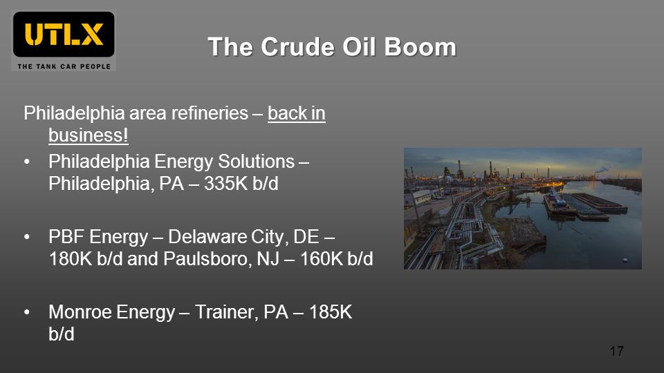 The Crude Oil Boom Philadelphia area refineries – back in business! Philadelphia Energy Solutions – Philadelphia, PA – 335K b/d PBF Energy – Delaware