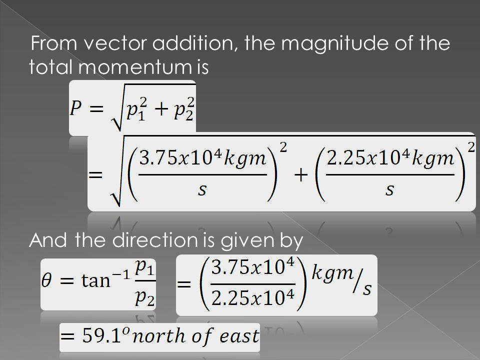 From vector addition, the magnitude of the total momentum is And the direction is given by