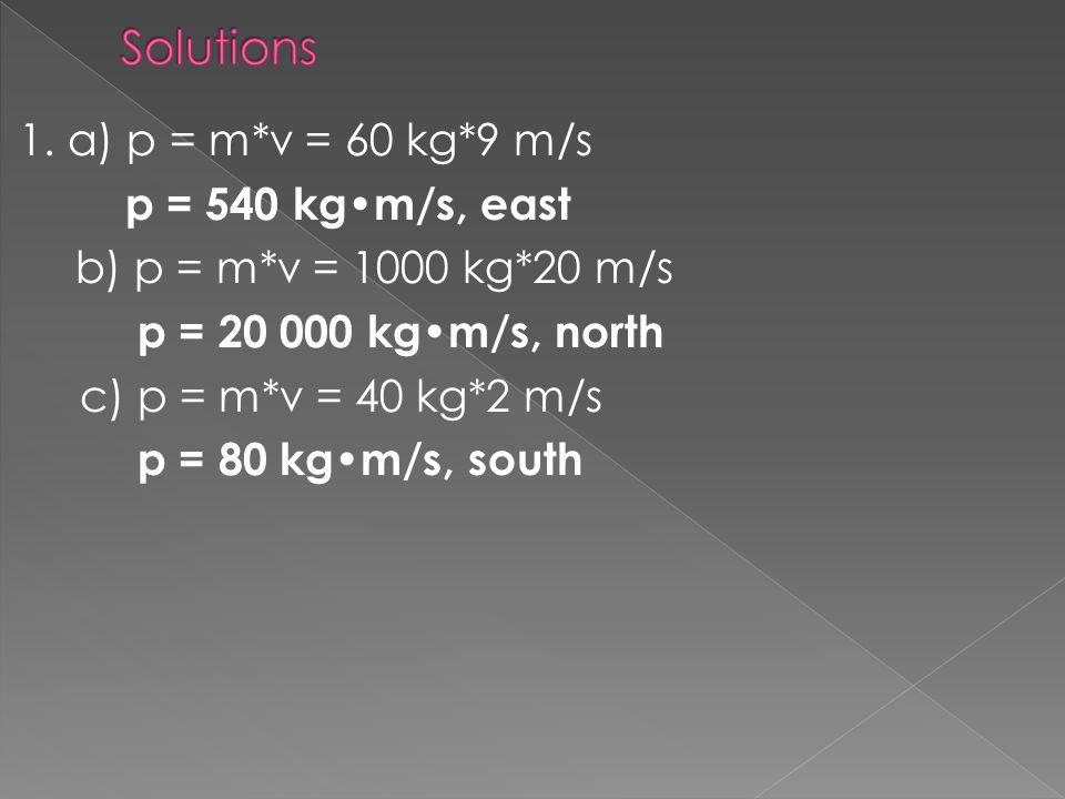 1. a) p = m*v = 60 kg*9 m/s p = 540 kgm/s, east b) p = m*v = 1000 kg*20 m/s p = 20 000 kgm/s, north c) p = m*v = 40 kg*2 m/s p = 80 kgm/s, south