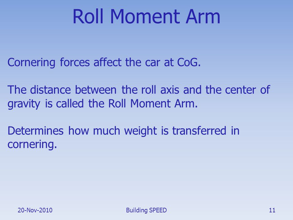 20-Nov-2010 Roll Moment Arm Cornering forces affect the car at CoG. The distance between the roll axis and the center of gravity is called the Roll Mo