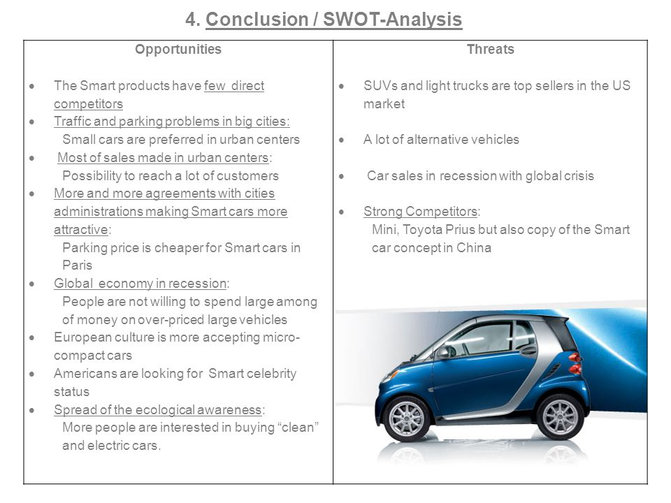 Opportunities The Smart products have few direct competitors Traffic and parking problems in big cities: Small cars are preferred in urban centers Mos