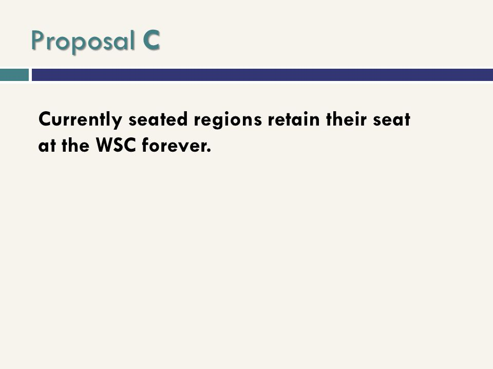 Proposal C Currently seated regions retain their seat at the WSC forever.