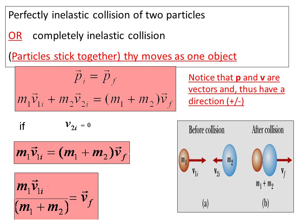 Elastic and inelastic collisions in one dimension Momentum is conserved in any collision, elastic and inelastic. Mechanical Energy is only conserved i