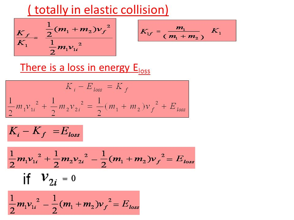 Perfectly inelastic collision of two particles OR completely inelastic collision (Particles stick together) thy moves as one object Notice that p and