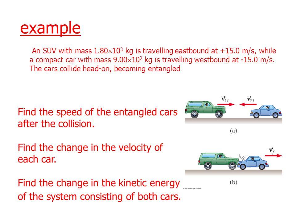 v = 10v = 0 Before Collision MM p = Mv MM After Collision p = 2Mv f Mv = 2Mv f v f = ½ v v f = 5