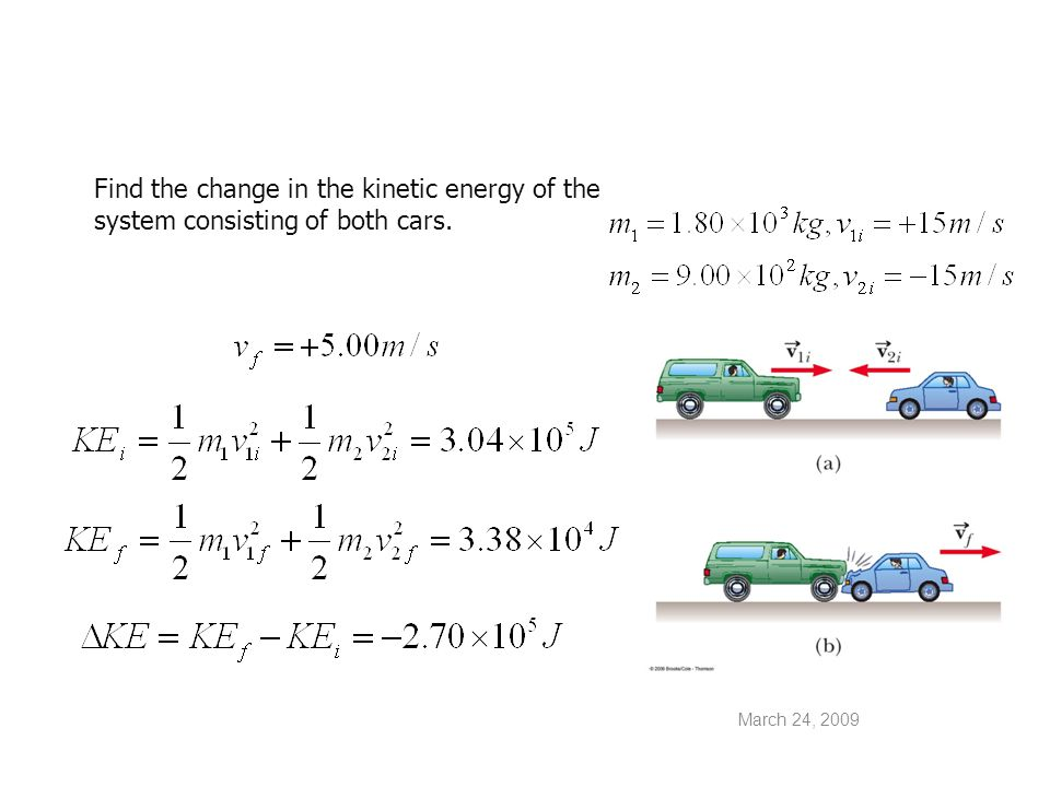 March 24, 2009 (b) Find the change in the velocity of each car.