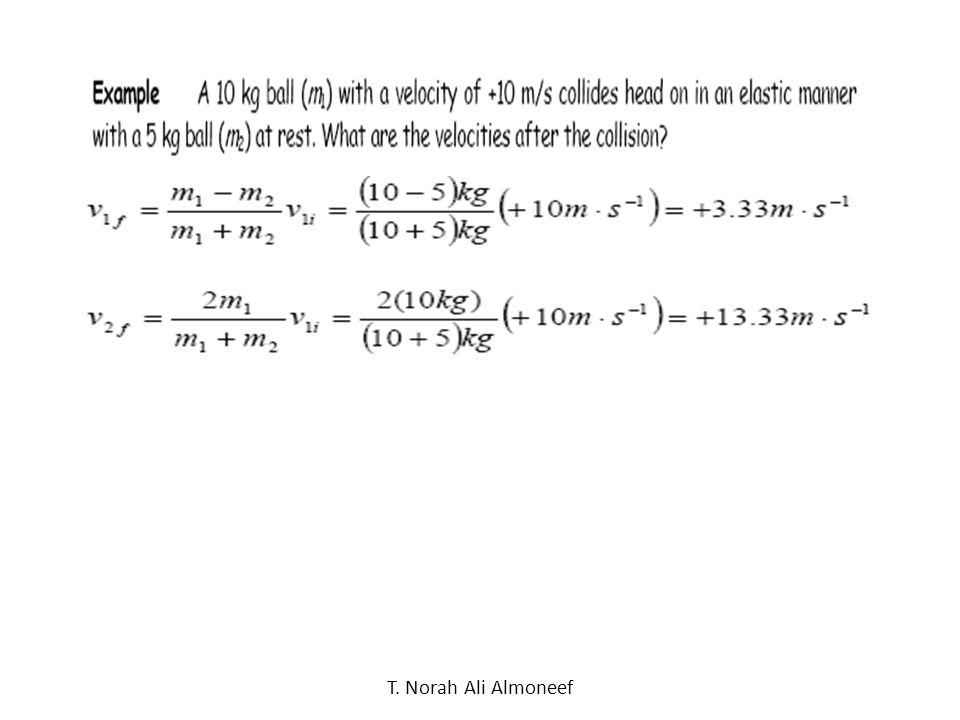 T. Norah Ali Almoneef Collision of Two Large Balls: Elastic collision: v m m Before v mm After All masses are equal. 2 2 V 1 = V V 2 = 0 V 1 =0 V 2 =