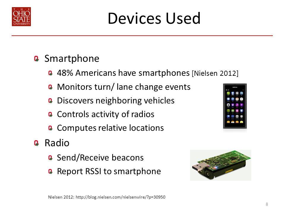 Devices Used Smartphone 48% Americans have smartphones [Nielsen 2012] Monitors turn/ lane change events Discovers neighboring vehicles Controls activity of radios Computes relative locations Radio Send/Receive beacons Report RSSI to smartphone 8 Nielsen 2012: http://blog.nielsen.com/nielsenwire/ p=30950