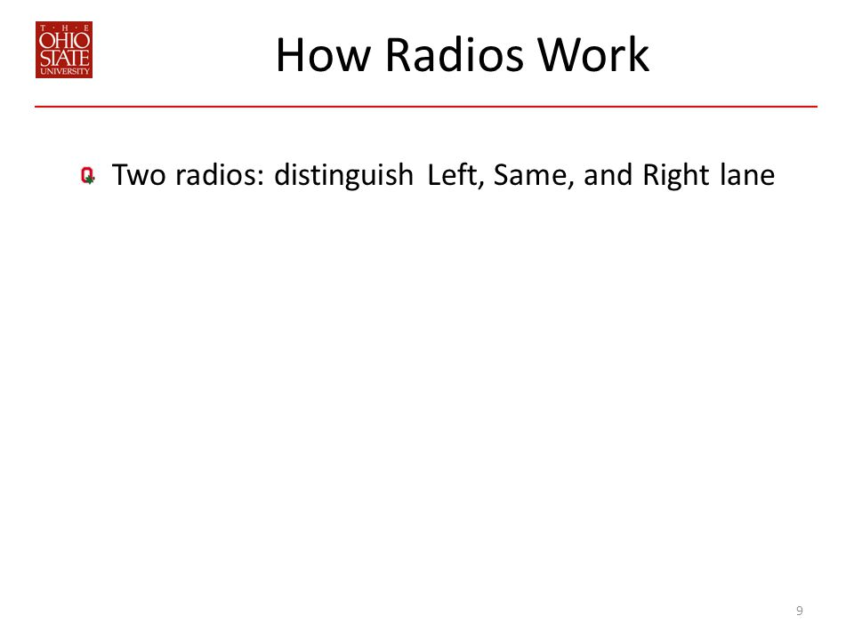 How Radios Work Two radios: distinguish Left, Same, and Right lane 9