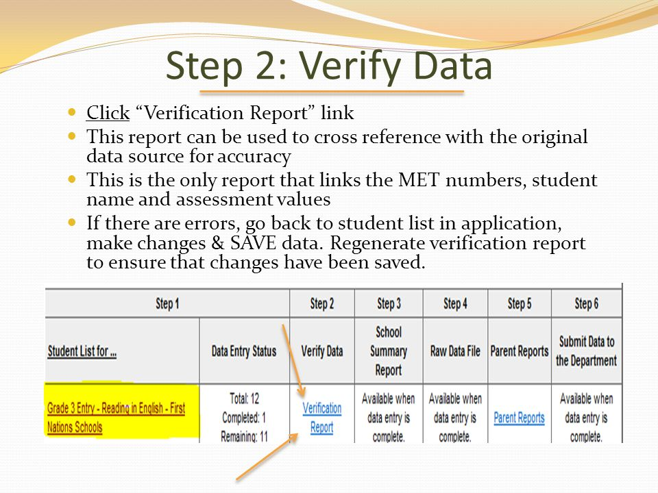 Step 2: Verify Data Click Verification Report link This report can be used to cross reference with the original data source for accuracy This is the o