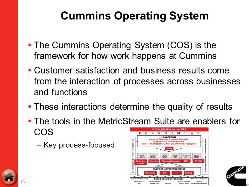 13 Cummins Operating System The Cummins Operating System (COS) is the framework for how work happens at Cummins Customer satisfaction and business res