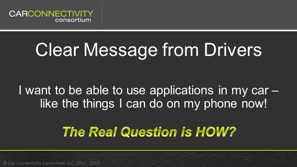 Clear Message from Drivers I want to be able to use applications in my car – like the things I can do on my phone now!