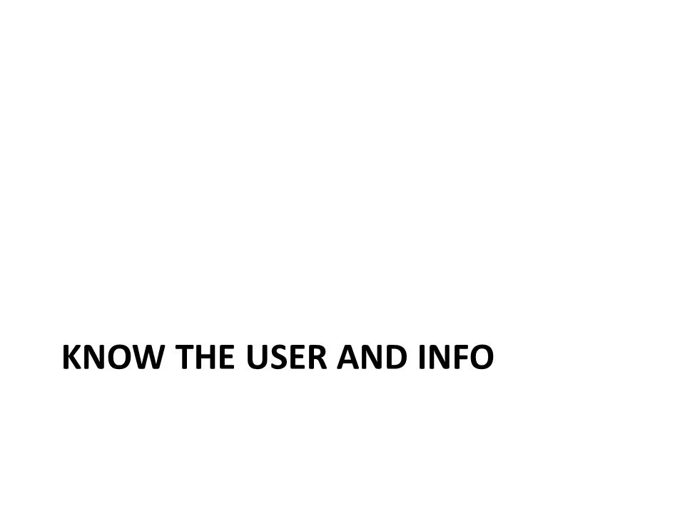 KNOW THE USER AND INFO