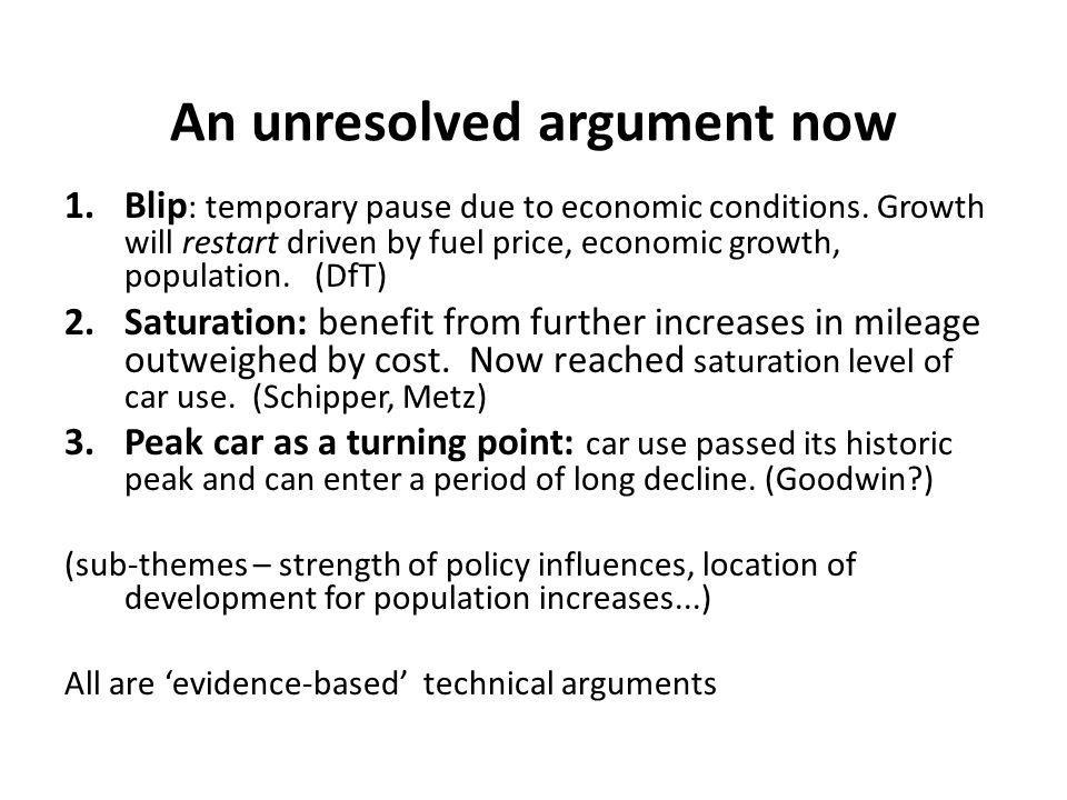An unresolved argument now 1.Blip : temporary pause due to economic conditions.