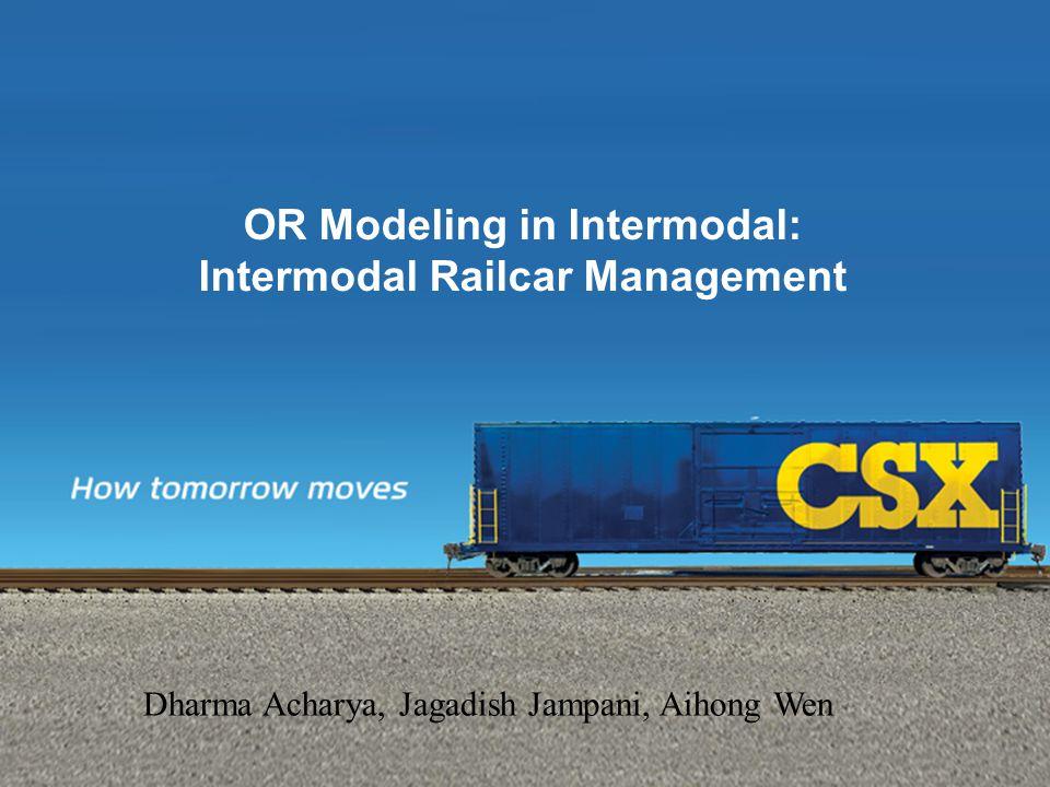 OR Modeling in Intermodal: Intermodal Railcar Management Dharma Acharya, Jagadish Jampani, Aihong Wen