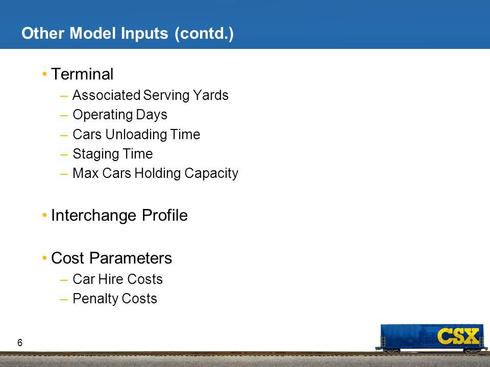 Model Constraints Supply and Demand Constraints by Equipment Type Train Specific Maximum Length Capacity Constraints Related to Train Profile –Days of Operation –Route of Trains –Block to Train Assignment Constraints Related to Intermodal Terminals –Capacity Restrictions –Days of Operation –Equipment Handling Capabilities Restrictions on Sending Certain Types of Cars only on Certain Lanes 7