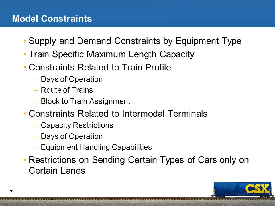 Model Objective and Output Objective –Minimize empty flatcar repositioning and car hire costs.