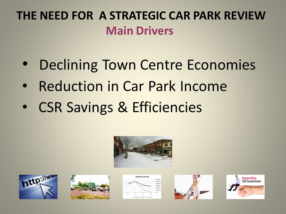 THE NEED FOR A STRATEGIC CAR PARK REVIEW Main Drivers Declining Town Centre Economies Reduction in Car Park Income CSR Savings & Efficiencies