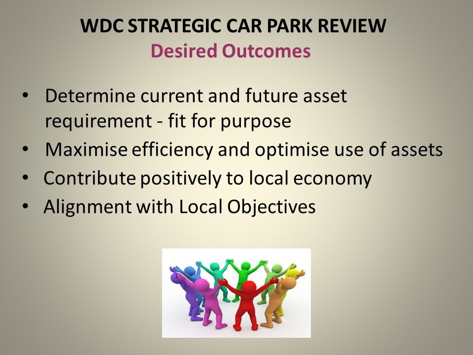 WDC STRATEGIC CAR PARK REVIEW Desired Outcomes Determine current and future asset requirement - fit for purpose Maximise efficiency and optimise use of assets Contribute positively to local economy Alignment with Local Objectives