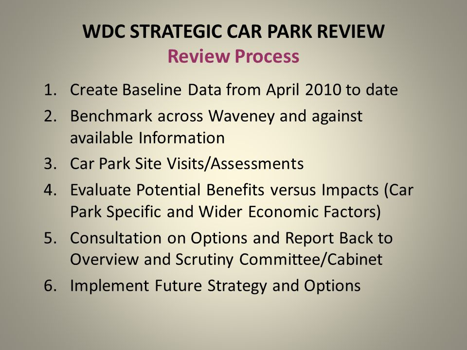 WDC STRATEGIC CAR PARK REVIEW Review Process 1.Create Baseline Data from April 2010 to date 2.Benchmark across Waveney and against available Information 3.Car Park Site Visits/Assessments 4.Evaluate Potential Benefits versus Impacts (Car Park Specific and Wider Economic Factors) 5.Consultation on Options and Report Back to Overview and Scrutiny Committee/Cabinet 6.Implement Future Strategy and Options