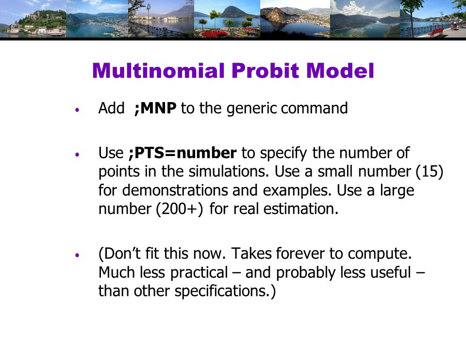 Multinomial Probit Model Add ;MNP to the generic command Use ;PTS=number to specify the number of points in the simulations.