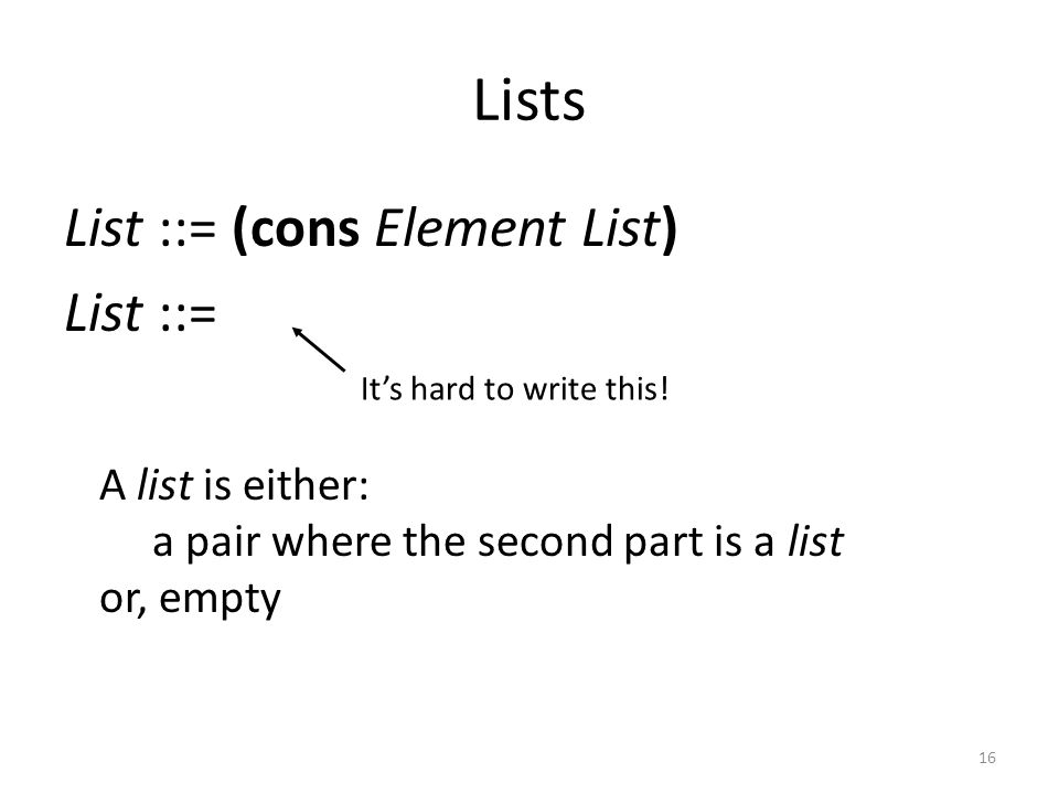 Lists List ::= (cons Element List) List ::= A list is either: a pair where the second part is a list or, empty Its hard to write this! 16