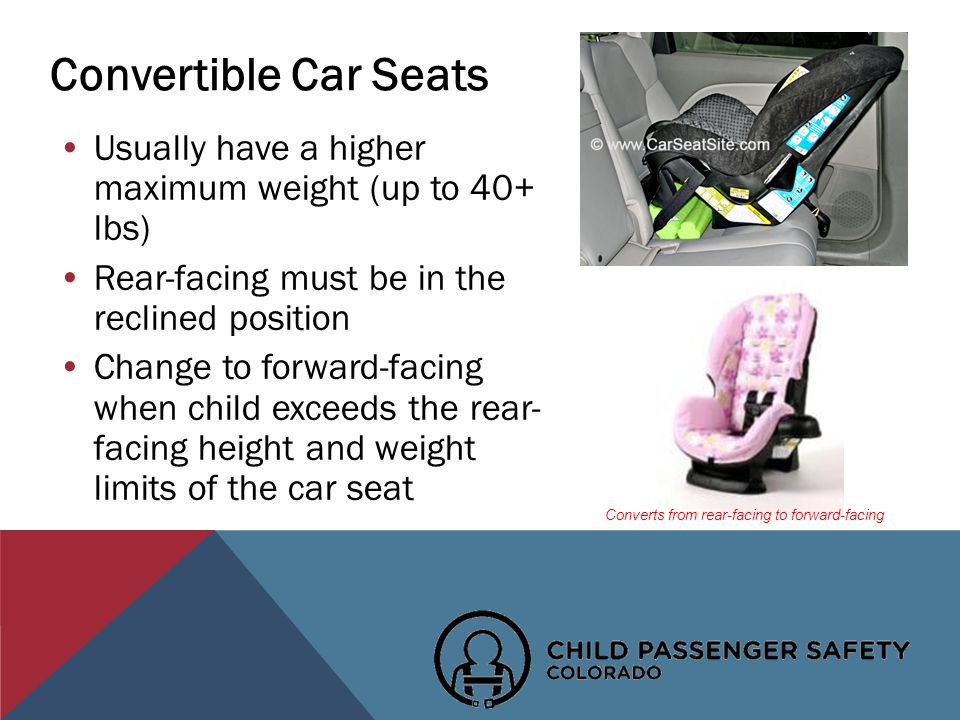 Convertible Car Seats Usually have a higher maximum weight (up to 40+ lbs) Rear-facing must be in the reclined position Change to forward-facing when child exceeds the rear- facing height and weight limits of the car seat Converts from rear-facing to forward-facing