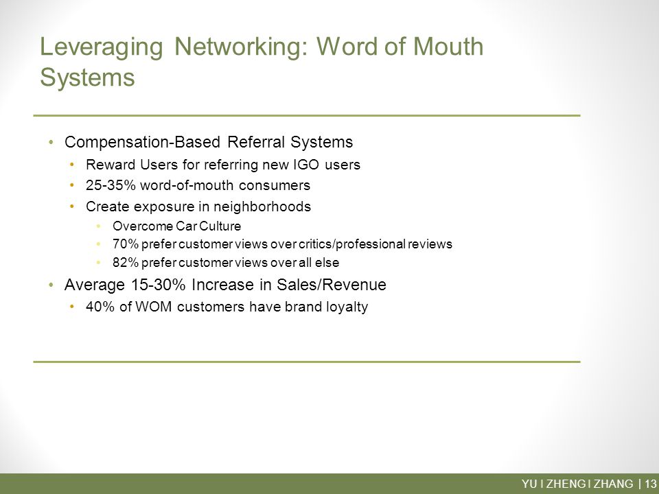 YU I ZHENG I ZHANG13 | Leveraging Networking: Word of Mouth Systems Compensation-Based Referral Systems Reward Users for referring new IGO users 25-35% word-of-mouth consumers Create exposure in neighborhoods Overcome Car Culture 70% prefer customer views over critics/professional reviews 82% prefer customer views over all else Average 15-30% Increase in Sales/Revenue 40% of WOM customers have brand loyalty