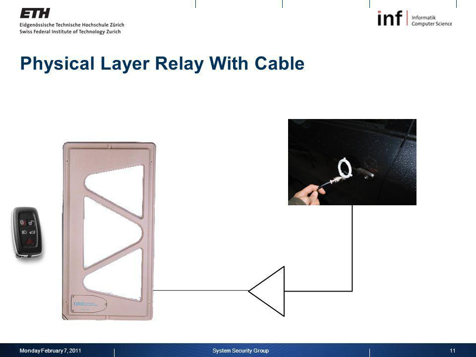 Physical Layer Relay With Cable Monday February 7, 201111System Security Group