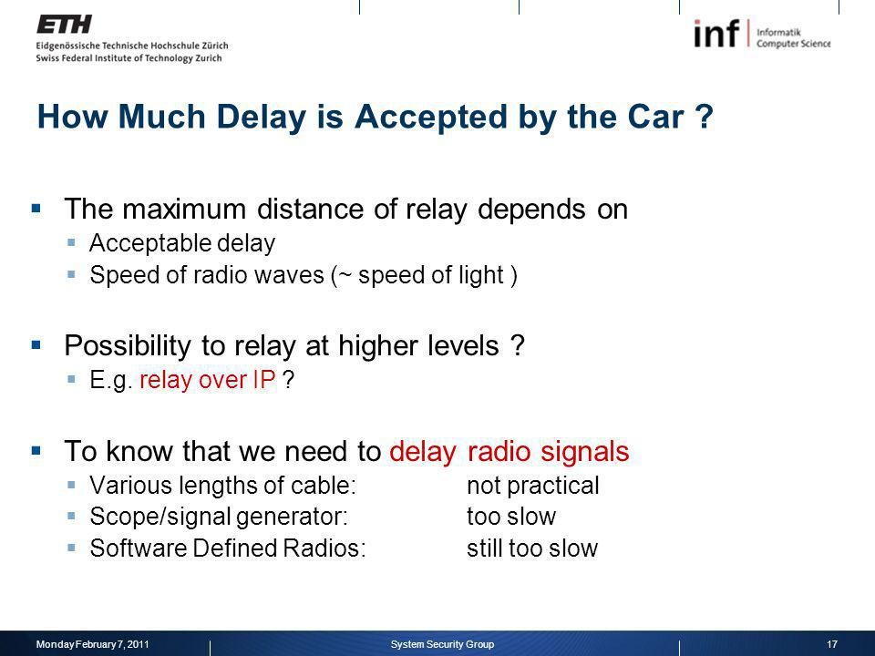 The maximum distance of relay depends on Acceptable delay Speed of radio waves (~ speed of light ) Possibility to relay at higher levels ? E.g. relay