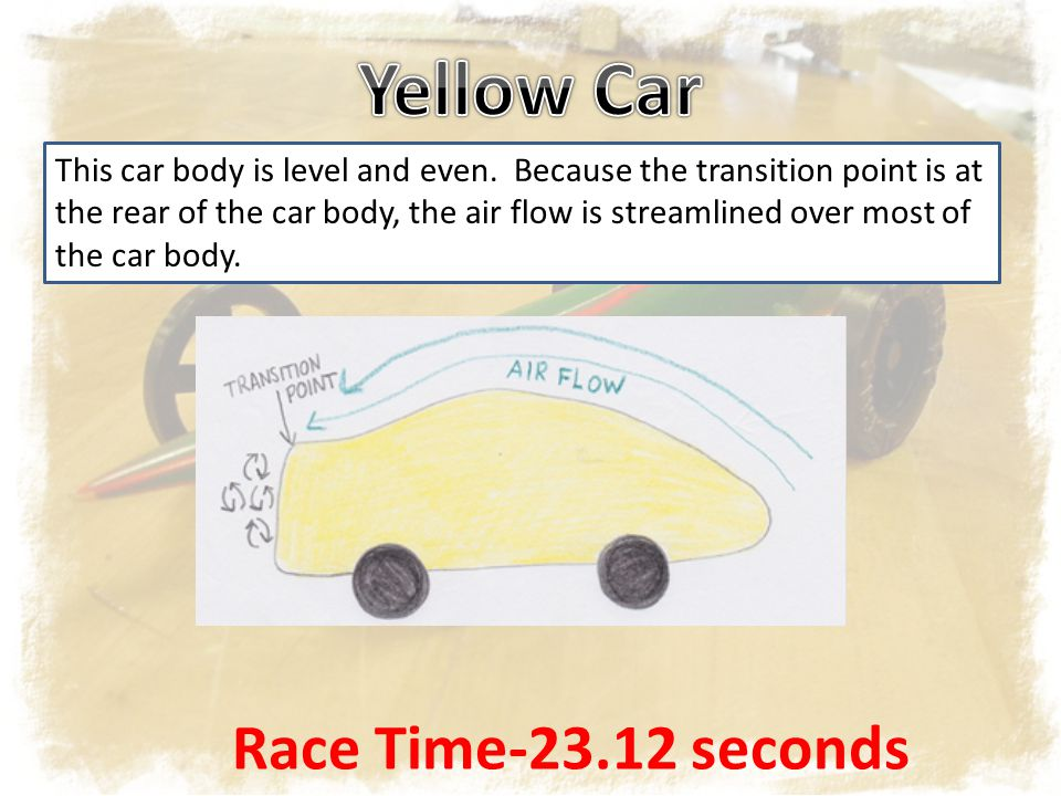 This car body is level and even. Because the transition point is at the rear of the car body, the air flow is streamlined over most of the car body. R
