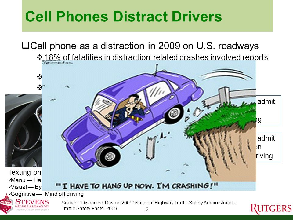 Cell Phones Distract Drivers 2 Cell phone as a distraction in 2009 on U.S.