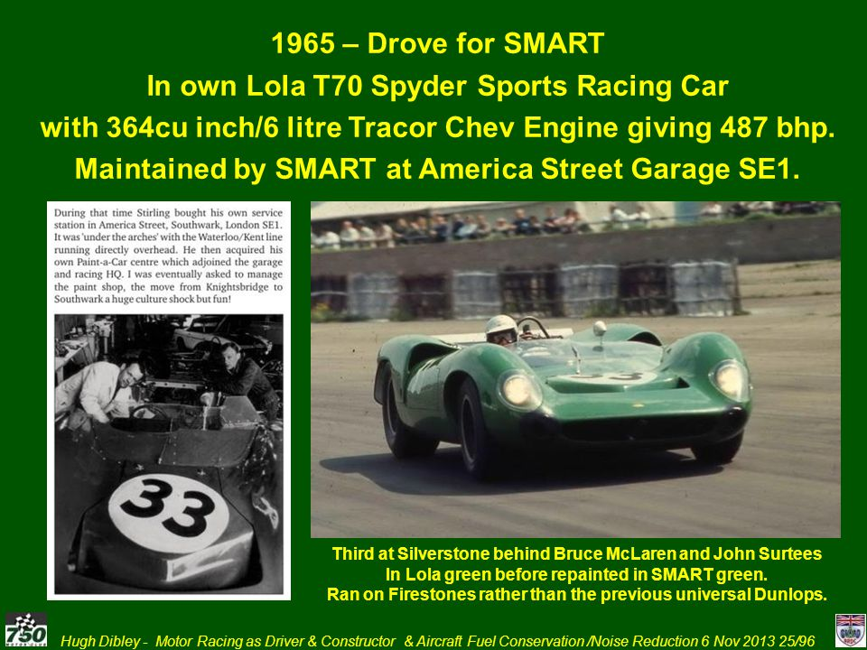 Hugh Dibley - Motor Racing as Driver & Constructor & Aircraft Fuel Conservation /Noise Reduction 6 Nov 2013 25/96 1965 – Drove for SMART In own Lola T