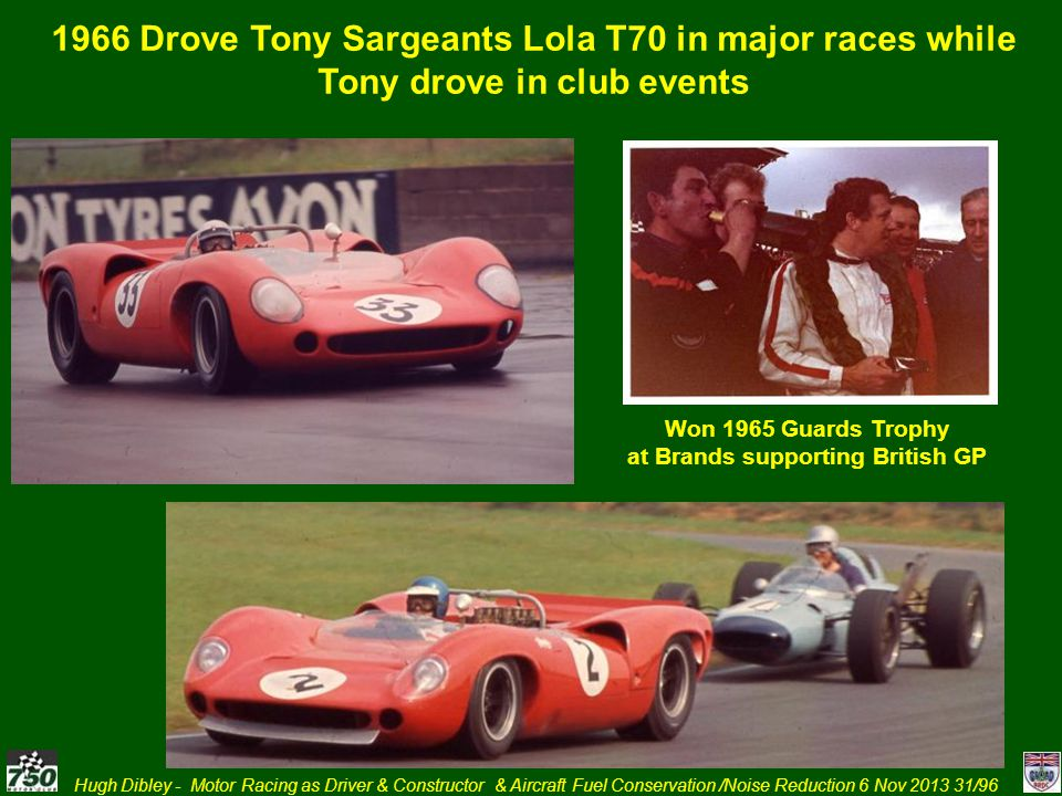 Hugh Dibley - Motor Racing as Driver & Constructor & Aircraft Fuel Conservation /Noise Reduction 6 Nov 2013 31/96 1966 Drove Tony Sargeants Lola T70 i