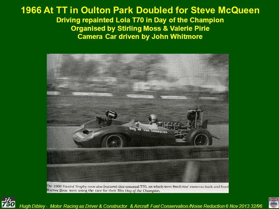 Hugh Dibley - Motor Racing as Driver & Constructor & Aircraft Fuel Conservation /Noise Reduction 6 Nov 2013 32/96 1966 At TT in Oulton Park Doubled fo