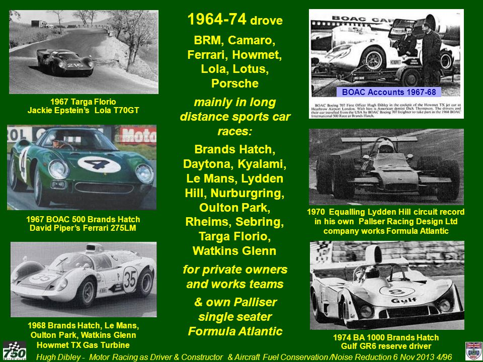 Hugh Dibley - Motor Racing as Driver & Constructor & Aircraft Fuel Conservation /Noise Reduction 6 Nov 2013 25/96 1965 – Drove for SMART In own Lola T70 Spyder Sports Racing Car with 364cu inch/6 litre Tracor Chev Engine giving 487 bhp.