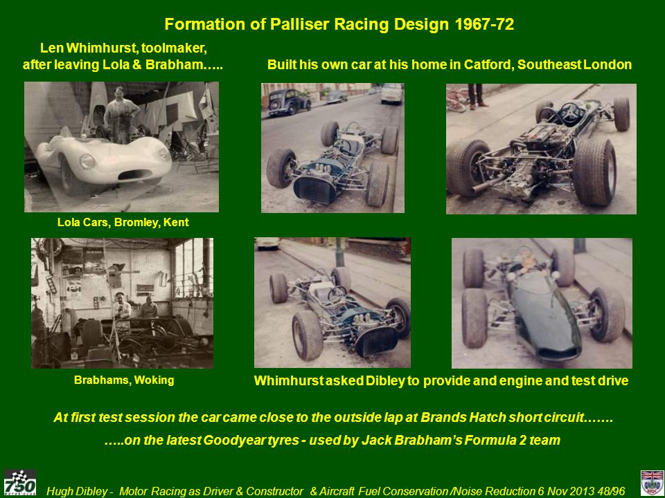 Hugh Dibley - Motor Racing as Driver & Constructor & Aircraft Fuel Conservation /Noise Reduction 6 Nov 2013 48/96 Formation of Palliser Racing Design